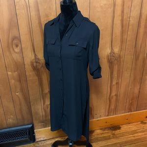 NWOT whbm black tunic button down dress shirt